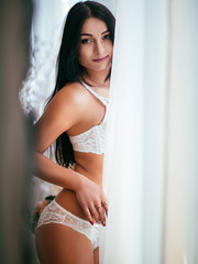 Young sexy gorgeous slim woman in beautiful lingerie