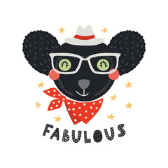 Spoed Fotobehang Illustraties Hand drawn vector illustration of a cute hipster indri in glasses, with lettering quote Fabulous. Isolated objects on white background. Scandinavian style flat design. Concept for children print.