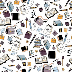 School kids seamless pattern with education elements
