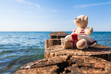 Summer Retreat at Sea / Teddy bear enjoy sunny day in nostalgic bathing suit with life buoy, sitting on pier of wooden breakwater at seaside (copy space)