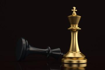 Gold chess king and black king on black background 3D illustration.