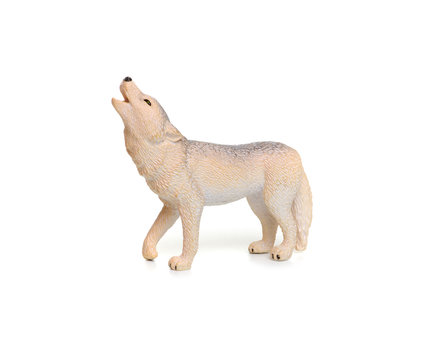 Toy wolf isolated on white