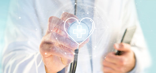Doctor holding a medical cross in a heart 3d rendering