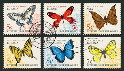 Vector set of postage stamps with different butterflies and their names on an abstract background in retro style