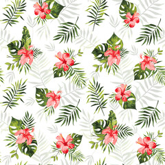 Vector seamless pattern with abstract green tropical leaves of banana, monstera and red hibiscus flowers. Summer background with exotic plants. Use in textiles, interior, wrapping paper and other.