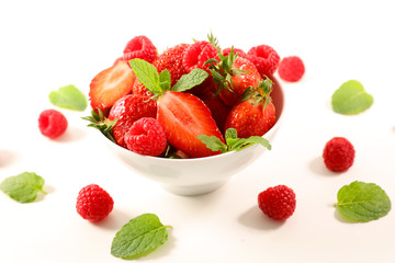 bowl of strawberry and raspberry