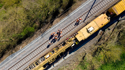 Aerial view of workers on a railway construction site, France
