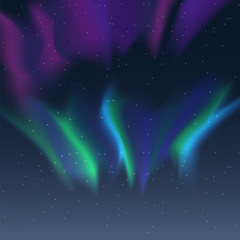 Vector aurora borealis illustration of night starry sky