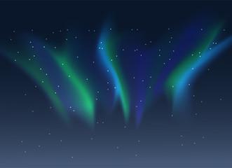 Vector blue green aurora borealis background of night starry sky
