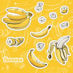 Color set with stickers of yellow bananas and seamless pattern. Whole and sliced elemets.