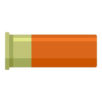 Orange cartridge shotgun icon. Flat illustration of orange cartridge shotgun vector icon for web design