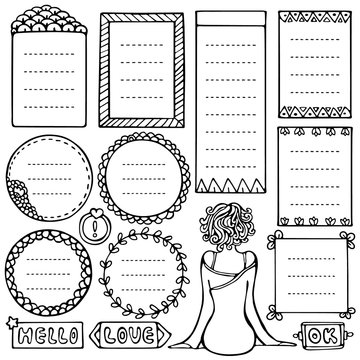 Set of black doodle frames for bullet journal, notebook, diary and planner isolated on white background.
