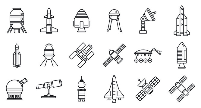 Planet space research technology icons set. Outline set of planet space research technology vector icons for web design isolated on white background
