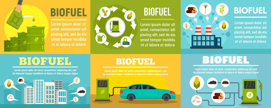 Bio fuel station banner set. Flat illustration of bio fuel station vector banner set for web design