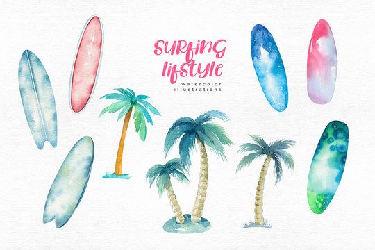 Watercolor ocean surf beach, adventure, surfers , fun holiday activity, tropical travel illustration. Island summer, retro car and surfboard.