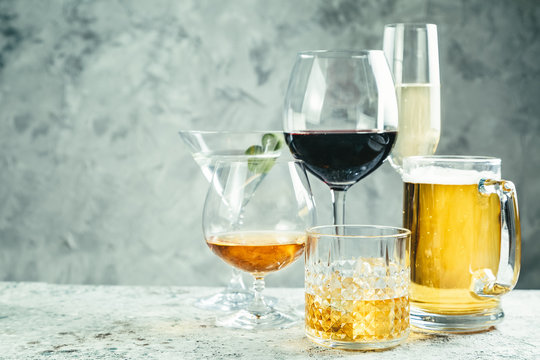 Selection of alcoholic drinks - beer, wine, martini, champagne, cogniac, whiskey