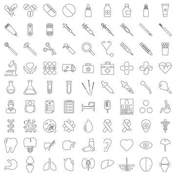81 Flatline-Icons: Gesundheit und Medizin, Linien editierbar