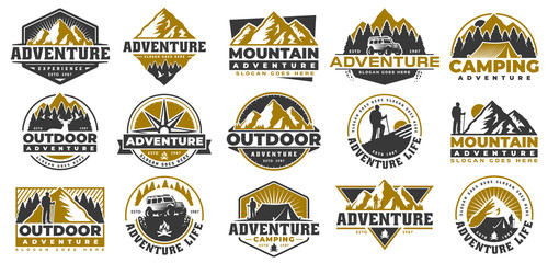 Set of Adventure and outdoor vintage logo template, badge or emblem style Wall mural