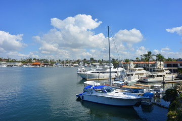 Newport Beach, california, USA, Marina with yachts and boats scenic view