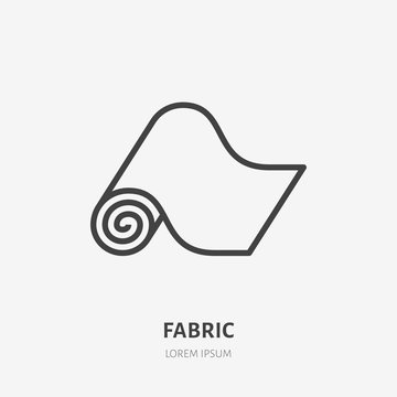 Carpet flat line icon. Vector thin sign of fitness mat, fabric roll logo. House textile decoration illustration