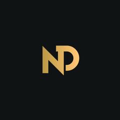 Fototapeta  ND or DN logo vector. Initial letter logo, golden text on black background obraz