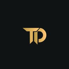Fototapeta TD or DT logo vector. Initial letter logo, golden text on black background obraz