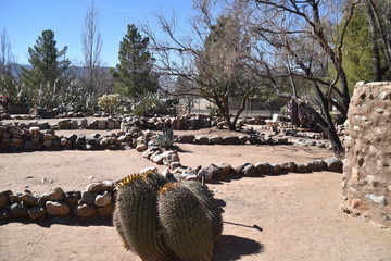 Fototapeta Globe, Arizona. U.S.A. January 30, 2018.  Besh Ba Gowah Archaeological Park and Museum is operated by the City of Globe, AZ.  Reconstruction of original Indian 200-room pueblo. obraz