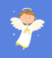 Child holding hands together vector, angel praying for peace. Angelic boy with wings and halo closed eyes. Kid wearing long costume, calm character