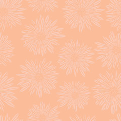 Subtle floral background. Coral pink Aster Dahlia Flowers seamless vector pattern. Hand drawn contemporary feminine art for summer, spring, fabric, paper, home decor, web banner, cards, page fill