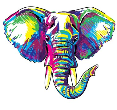 The head of an African elephant. Elephant with a raised trunk. Drawing markers, pop art. Stylish poster.