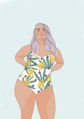 Illustration of overweight woman in swimsuit