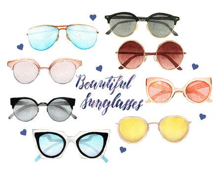 Watercolor Fashion Illustration. set of trendy accessories. Beautiful sunglasses,handmade
