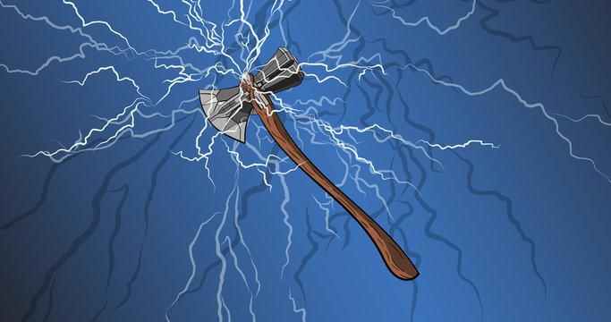 God weapon. Thor Stormbreaker. Cartoon axe weapon from avengers endgame.