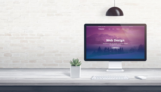 Modern theme on computer display. Professional studio concept with free space on wall for text.