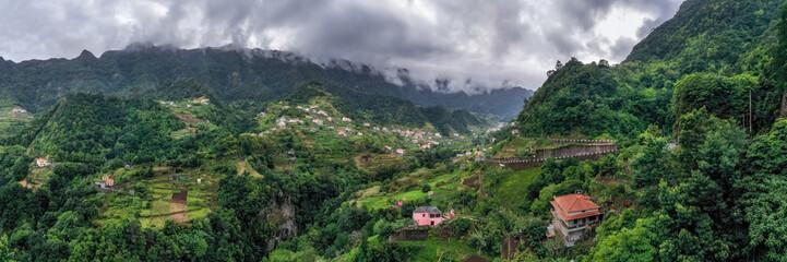Beautiful mountain village on Madeira island, Portugal. Panorama view. Wall mural