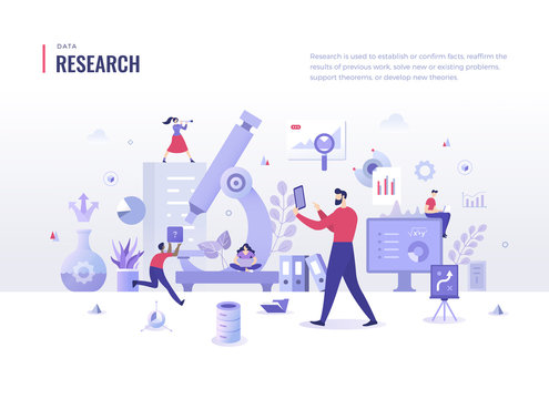 Research Flat Illustration Concept. Search for information, analyze business processes. Scientific approach in problem solving