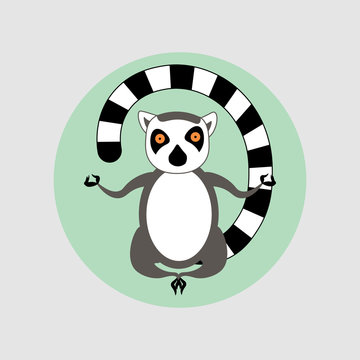 Vector illustration. Cartoon style icon of meditating lemur. Cute character for different design.
