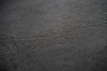 Genuine full grain black cow leather texture