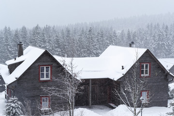 Winter landscape in Harz with a wood house in a foreground