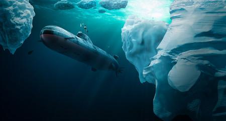 Submarine dives under the ice