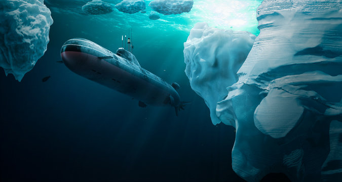 Submarine dives under the ice
