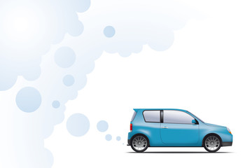 Hydrogen powered environmentally friendly car exhausting water vapor. Not an actual model.