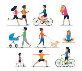 Obraz People doing various outdoor activities, isolated. Running, on bike, on scooter, walking the dog, exercising, meditating, walking with baby carriage. Vector illustration of healthy lifestyle. - fototapety do salonu