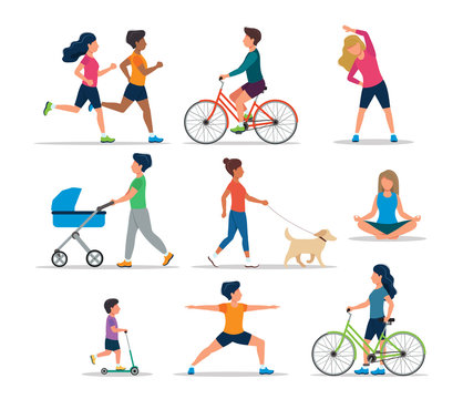 People doing various outdoor activities, isolated. Running, on bike, on scooter, walking the dog, exercising, meditating, walking with baby carriage. Vector illustration of healthy lifestyle.