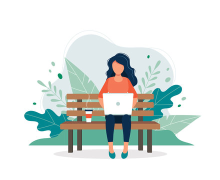 Woman with laptop sitting on the bench in nature and leaves. Concept illustration for freelance, working, studying, education, work from home, healthy lifestyle. Vector illustration in flat style
