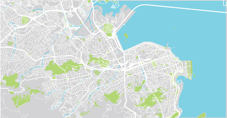 Urban vector city map of Rio de Janeiro, Brazil Fototapete
