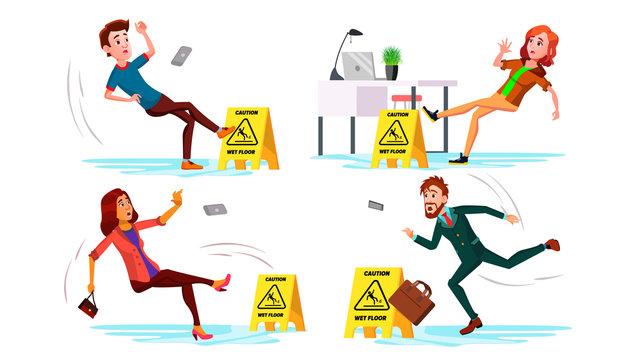 Slippery Concept Vector. Wet Slippery Floor. Slip People Fall On. Illustration
