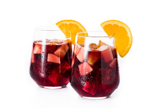 Red wine sangria isolated on white background