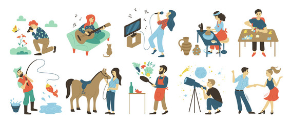 Talents and skills, hobbies vector. Photo and playing music, singing and pottery, puzzles and fishing, horse riding and cooking, astronomy and dancing Wall mural