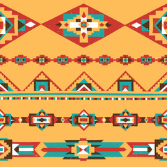 Colorful Textured Decorative Borders with Traditional Native American Ornaments